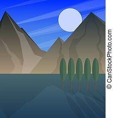 montagnes, entiers, paysage, lune