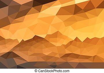 montagnes, eps10, illustration, style., polygonal, vecteur, coucher soleil, fond, gentil, ton, paysage, design.