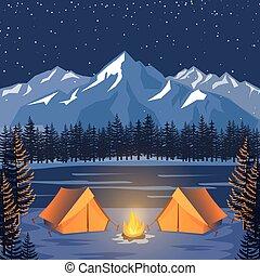montagnes, extérieur, poster., nature, camp, tentes, clair lune, vecteur, aventure, nuit, paysage, forêt