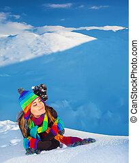 montagnes, femme, neigeux