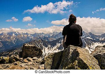 montagnes, femme