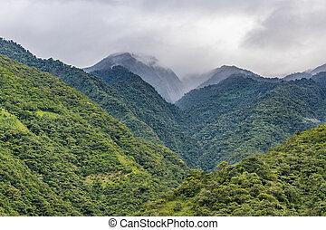 montagnes, feuillu, banos, équateur, paysage