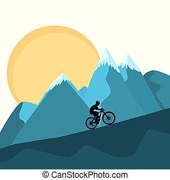 montagnes, fond, coucher soleil, femme, mtb, cavalier