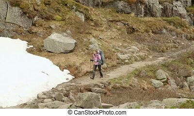 montagnes, girl, norvège, hausses
