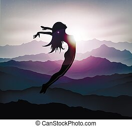 montagnes, girl, sauter, coucher soleil, liberté
