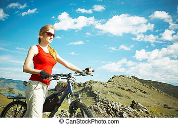 montagnes, girl, vélo, contre