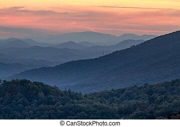 montagnes, grand, enfumé, parc, automne, national