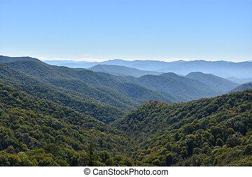 montagnes, grand, parc, enfumé, national