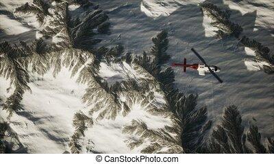 montagnes, hélicoptère, neige, au-dessus