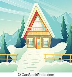 montagnes, hiver, maison, vecteur, village, dessin animé