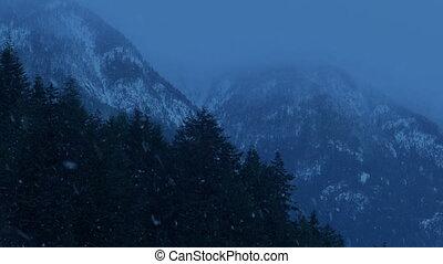 montagnes, hiver, neige, chutes