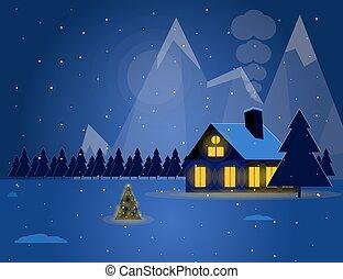 montagnes, hiver, neigeux, maison, nuit, illustration, arbre., sous, noël, paysage
