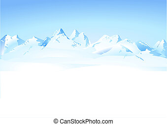montagnes, hiver, panorama
