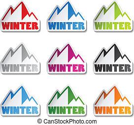 montagnes, hiver, symbole, -, vecteur, autocollant