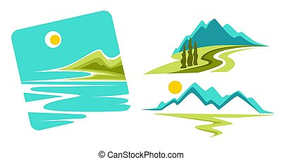 montagnes, icônes, marine, isolé, océan, côte, ou, paysage