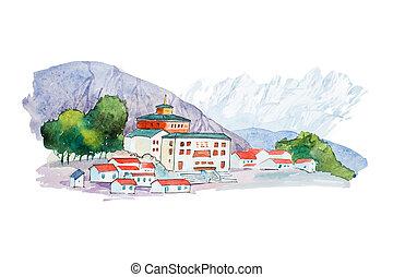 montagnes, illustration., aquarelle, village, petit, européen