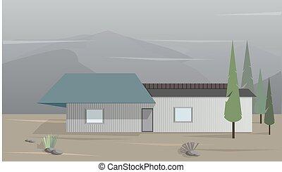 montagnes, illustration, maison