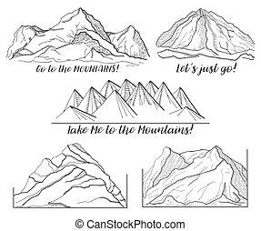 montagnes., images, différent, ensemble
