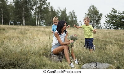 montagnes, jeu, famille, maman, amusement, mon, enfants