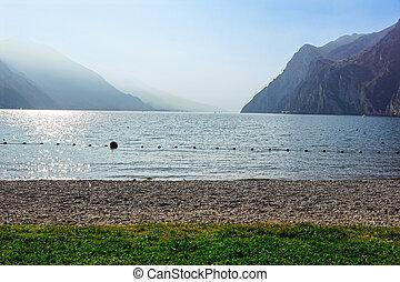 montagnes, lac, coucher soleil, horizon, plage, paysage, alpin
