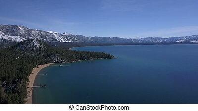 montagnes, lac, neige, littoral, tahoe, couvert