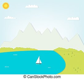 montagnes, lac, paysage