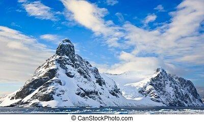 montagnes, lent, métrage, antarctica., mouvement, 4k, neige-couvert