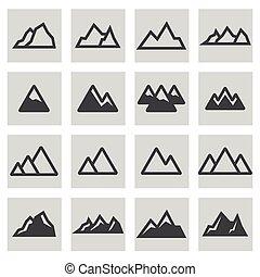montagnes, ligne, vecteur, ensemble, icônes