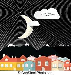 montagnes, -, lune, maisons, nuit, paysage