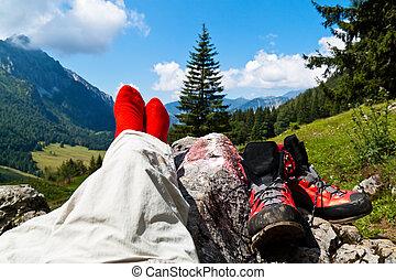 montagnes, marche, chaussures, randonnée