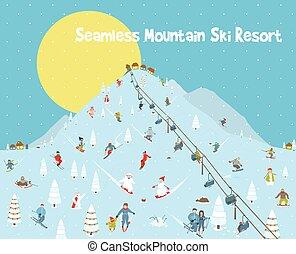 montagnes, modèle, seamless, recours, horizon, frontière, dessin animé, ski