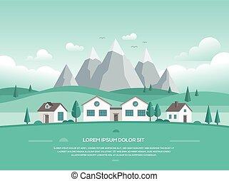 montagnes, moderne, -, illustration, maisons, vecteur, paysage