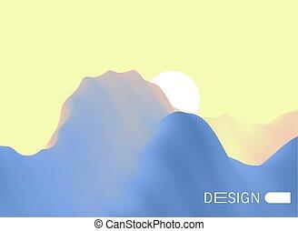 montagnes, montagneux, illustration., terrain., résumé,...