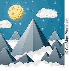 montagnes, moon., entiers, paysage, espace