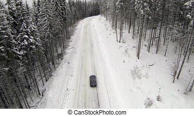 montagnes, neige-couvert, aérien, campagne, carpathian, coup, route