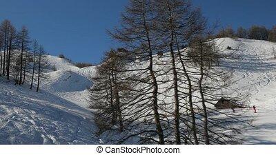 montagnes, neigeux, paysage, pentes, élevé, ski, hiver
