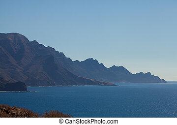 montagnes, nord, côte ouest, gran, escarpé, canaria