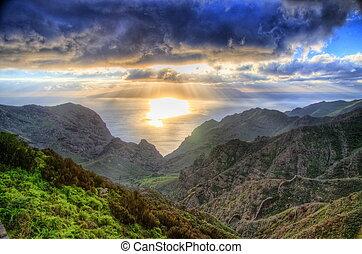 montagnes, north-west, coucher soleil, tenerife, îles, ...