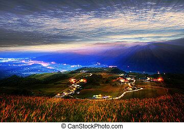montagnes, nuages, ciel, matin, sous, paysage