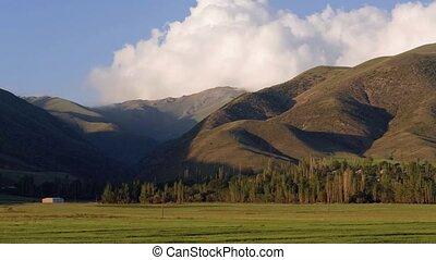 montagnes, nuages, sur, timelapse, vert, arménie, vidéo, mouvement