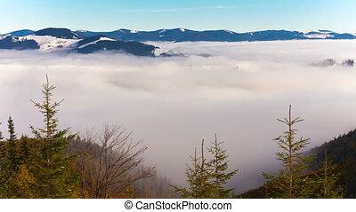 montagnes, nuages, timelaps, neigeux
