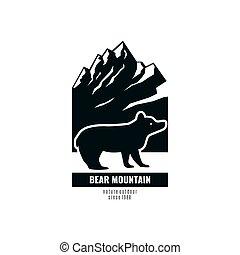 montagnes, ours, retro, logo, mountain., style.