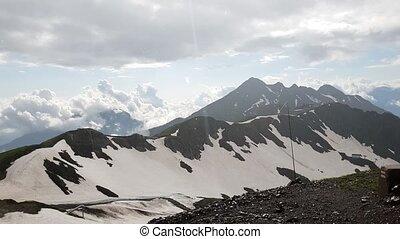 montagnes, panorama, khutor, rosa, pluie, caucasien, recours, russie