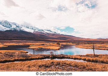 montagnes, panorama., montagne, voyage, gamme, automne, rivers., horizon., lake., vallée, vue