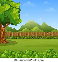 montagnes, paysage, arbres, barrière