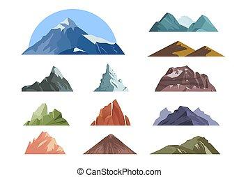 montagnes, paysage, escalade, vecteur, style, mountain., rochers, différent, dessin animé, extérieur, fond, expeditions.