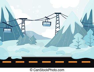 montagnes, paysage, funiculaire, seamless, vecteur, fond, dessin animé