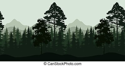 montagnes, paysage, seamless, arbres