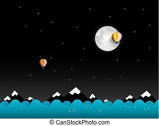 montagnes, pleine lune, ciel, arrière-plan., vecteur, noir, nuit, paysage