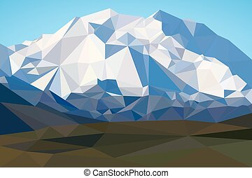 montagnes, poly, polygonal, bas, fond, style., paysage